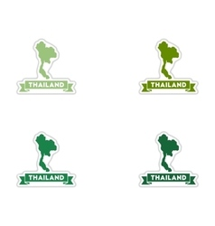 Set of paper stickers on white background Thailand vector image vector image