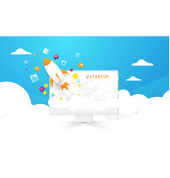 Start up background computer and rocket launch vector