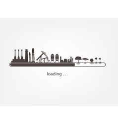 Status bar and factories against renewable energy vector