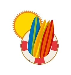 Sun float surf board icon summer design vector