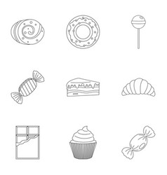 Sweet desserts icon set outline style vector