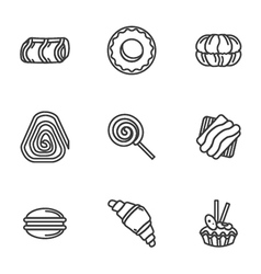 Sweets simple icons set vector image vector image