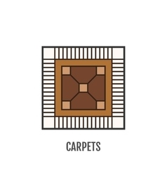 Color flat icon of carpet Flooring vector image