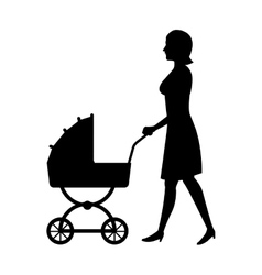 silhouette woman mother with pram baby walking vector image