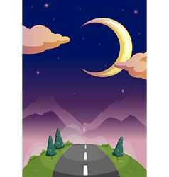A narrow road and the starry night vector