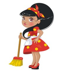 Cartoon girl with a broom vector image