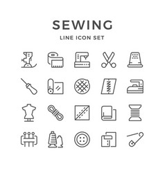 Set line icons of sewing vector