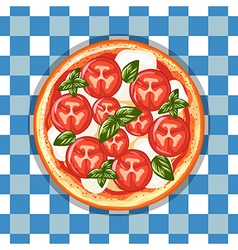 Italian pizza margarita with tomatoes cheese and vector