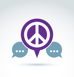 Peace propaganda icon with speech bubble vector image