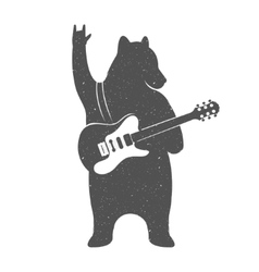 Vintage of Funny Bear with Guitar vector image