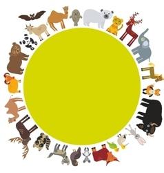 Round frame animal card template bison bat fox vector