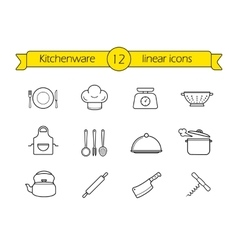 Kitchenware line icons set vector