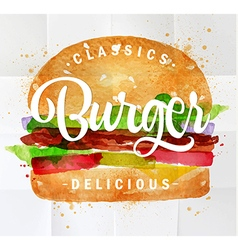 Burger watercolor vector image