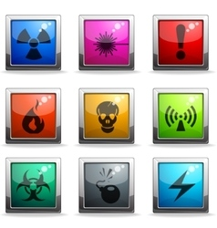 Hazard icons set vector