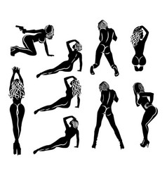 a large set of nine simple black and white vector image
