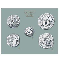 ancient greece antique symbols silver coins tetra vector image vector image