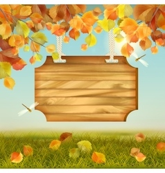 Autumn landscape wooden board vector