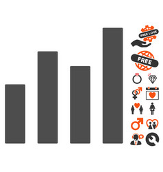 bar graph icon with lovely bonus vector image