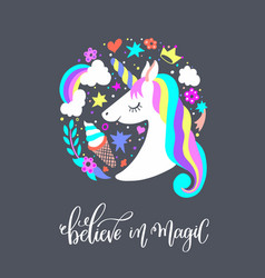 believe in magic - art poster with unicorn vector image vector image