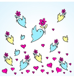 Birds and flowers heart love fly group vector
