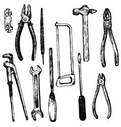Hand drawn tool kit vector