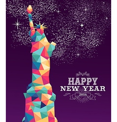 Happy new year 2016 america color triangle hipster vector image