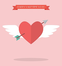 Heart flying with cupid arrow vector