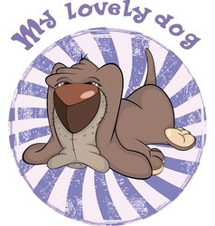 Hunting dog badge basset hound cartoon vector