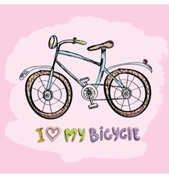 I love my bicycle concept design vector image