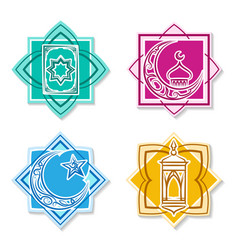islamic emblem set vector image vector image