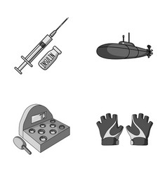 Medicine game and other monochrome icon in vector