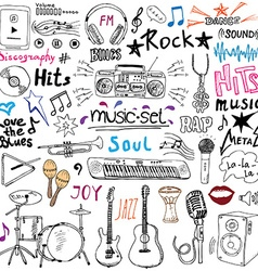Music items doodle icons set Hand drawn sketch vector image