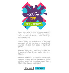 only today -30 off web page vector image