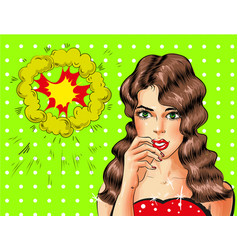 pop art beautiful sexy brunette woman vector image