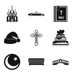 religion sign icons set simple style vector image