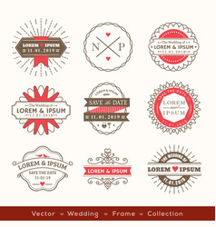 retro modern hipster wedding logo frame badge vector image vector image
