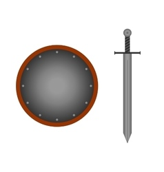 Set round shield sword silver 1505 vector image vector image