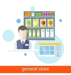 Shelfs with Food General Store vector image