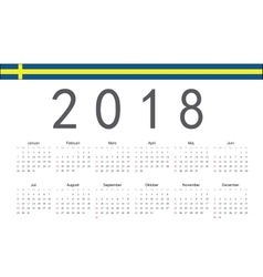Swedish 2018 year calendar vector