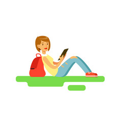 young beautiful female student sitting on the vector image