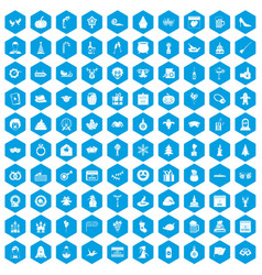 100 holidays icons set blue vector