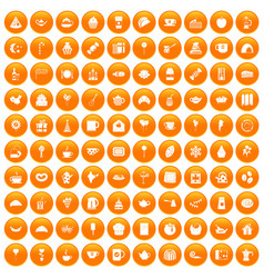 100 tea party icons set orange vector
