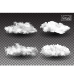 Set of fluffy white clouds realistic design vector