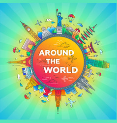 Around the world - flat design travel composition vector