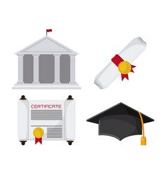 Graduation cap diploma building icon vector