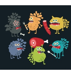 Cute food monsters vector