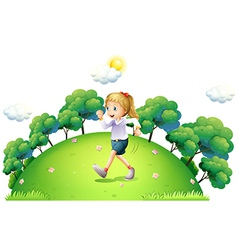 A girl running above the hill vector image