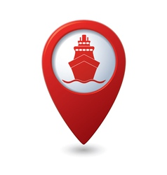 Ship icon red map pointer vector