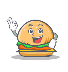 Okay burger character fast food vector