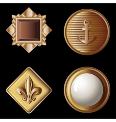 Set of vintage gold buttons - vector